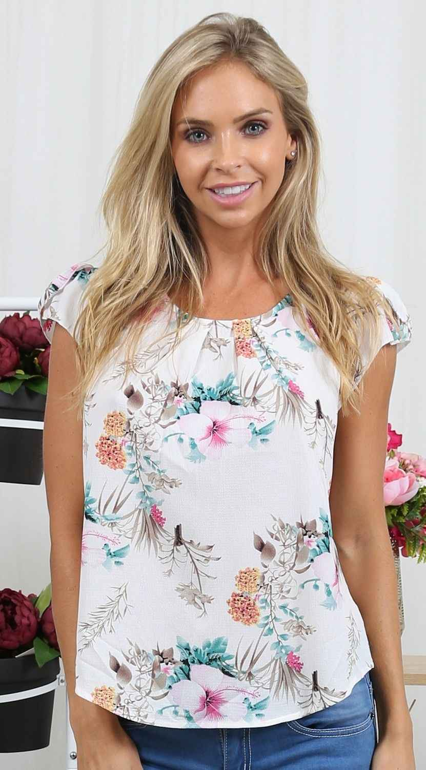 be6bd84c3dca Summer Women Casual Tops Blouse 2018 Floral Chifon Short Sleeve Crew Neck  Floral Shirt Ladies Tee