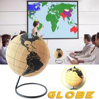 Globe Model Black Metal Base Soft Wooden Globe Model With Pinpoint Pin For Travels Adventures Or Home Decoration