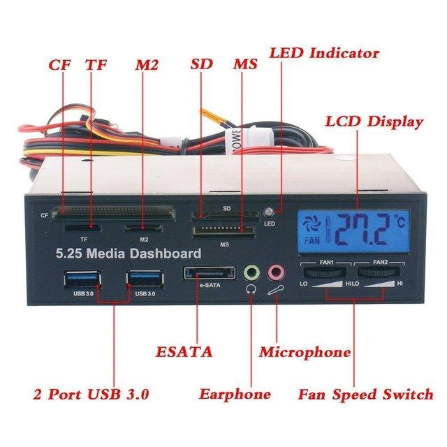 Multifunctional Media Panel 5.25 inch Computer Front Dashboard with SATA/eSATA, USB 2.0/USB 3.0, Microphone/Headphone Audio Po 1