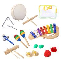 Percussion Set Musical Instruments Enlighten Toys Tambourine Bells Maracas Glockenspiel Castanets 10PCS with Carrying Case for