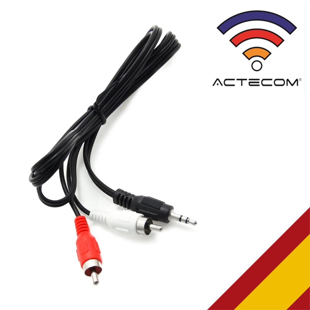 ACTECOM CABLE AUDIO ESTEREO MINI JACK 3.5 Mm MACHO A 2 RCA MACHO 1 METRO APROX
