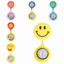 Top Lucky Cute Smiling Clip-on Fob Brooch Pendant Hanging Quartz Pocket Watch Adjustable Clock For Medical Doctor Nurse Watches