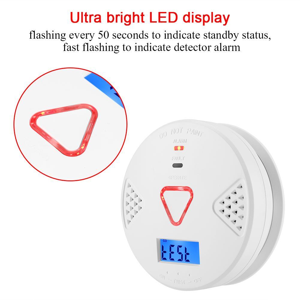 Carbon Monoxide Detectors Flight Tracker Carbon Monoxide Alarm Sensor Voice Warning Co Gas Sensor Lcd Photoelectric Independent Detector Alarm Sensor For Home Security Fire Protection