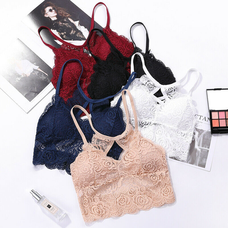 Fashion Ladies Women Lace Bras Floral Padded Stretch Bralette Vest Sleep Bra Wire Free Lace Crop Top Underwear Solid Brassiere
