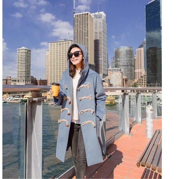 Laine Bouton Manteaux 2018 De Femmes Lâche Manteau Automne Style Turn Long Capuchon Collar À Survêtement Corne Coréenne Bleu down Hiver qgwFfA
