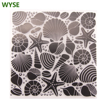 WYSE Sea Star Plastic Embossing Folders Background for DIY Card Making Scrapbooking Paper Decoration Craft Supplies 12.6*12.6cm