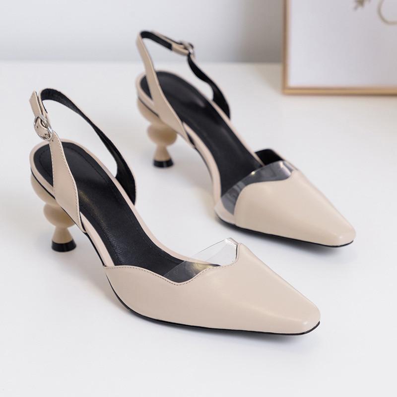 Chaussures Cheville 2019 Transparent Blanc Noir Sangle Noir Sandales Couleur Mode kaki Avec Boucle Frontière blanc Talons Sexy Femmes Étrange Décontractées À SA4rA