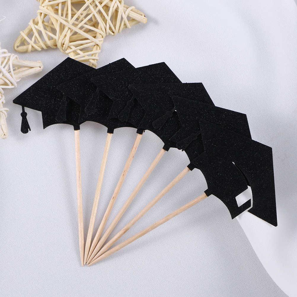 24 Pcs 2020 Wisuda Topi Topper Kue Kertas Cake Dimasukkan Kartu Buah Mengambil Perawatan Perhiasan untuk 2020 Pesta Kelulusan