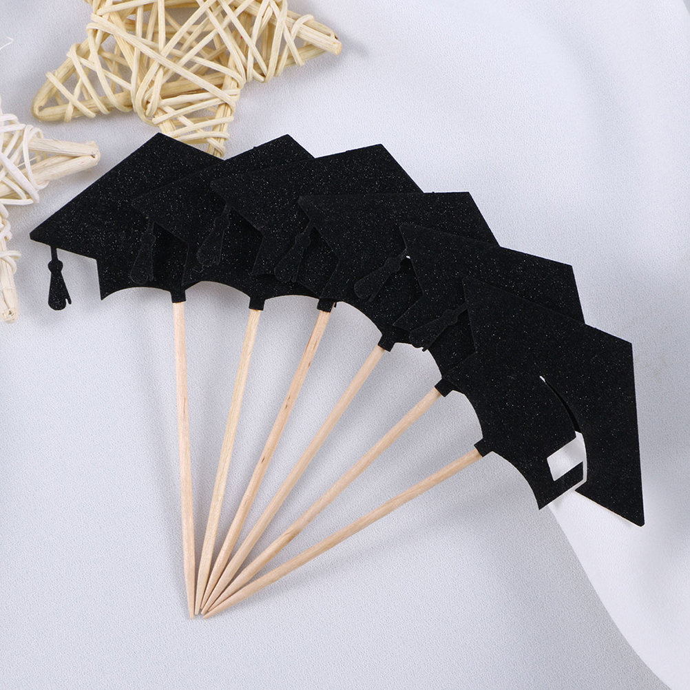 24pcs/Pack Graduation Cake Inserted Card Paper Cake Topper For Graduation Party Grad Cap Set For Cake Decor