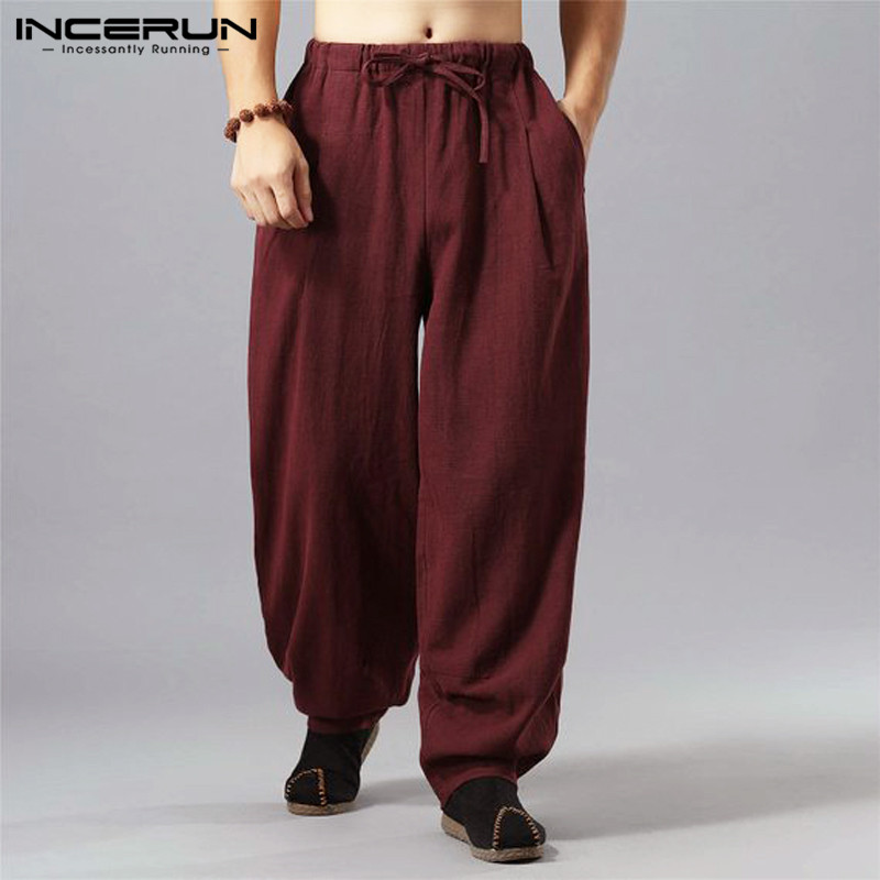 INCERUN Vintage Casual Pants Men Solid Chinese Style Loose Cotton Trousers Men Pockets Harajuku Pantalon Harem Pants Hombre 2019
