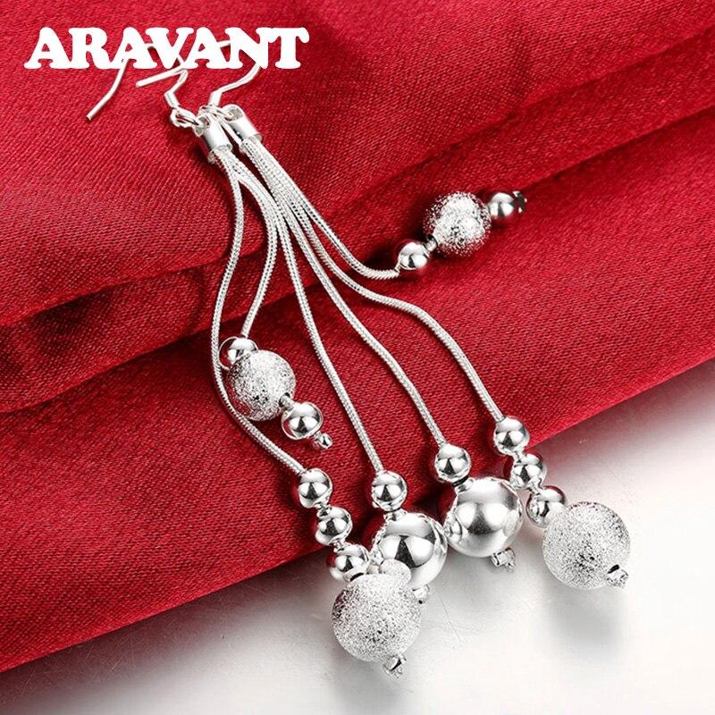 925 Silver Earring Three Line Bead Long Drop Earrings For Women Valentine'S Day Earring Jewelry Top Quality