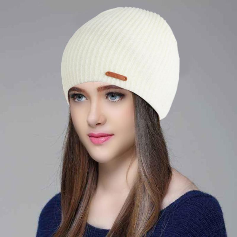 Fashion Women Men Winter Warm Hat Stripe Beanies Solid Color Knitted Cap