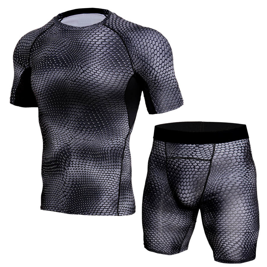 3d Camo Crossfit Suits Men Compression Tracksuit Short Sleeve T-Shirt Sets Men Gyms Fitness Sportswear Joggers Breathable Tights