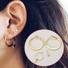 2019 New Arrival Round Allergy Free Exquesite Golden Party Star Women Girls 4PCS/Set Corcle Earring Gifts Drop Shipping