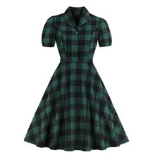 цена Sisjuly Women Vintage Dresses Summer Elegant New Office Lady Green Plaid Sweet New Female Fashion Preppy Style Retro Dress онлайн в 2017 году