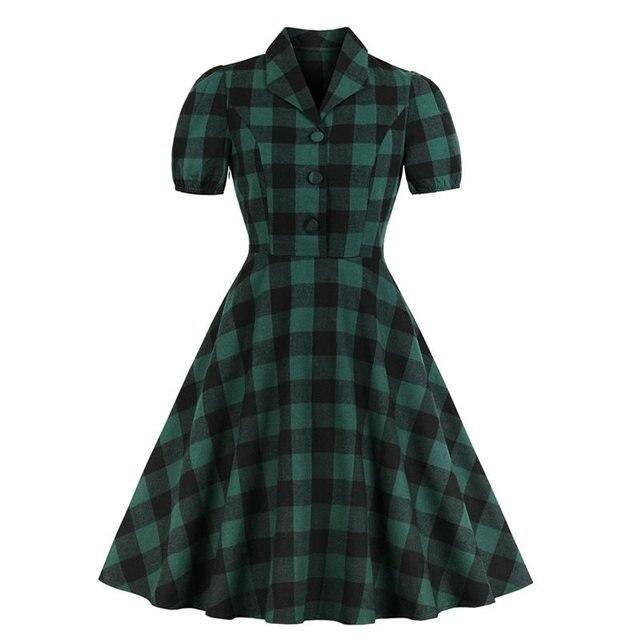 Sisjuly Women Vintage Dresses Summer Elegant New Office Lady Green Plaid Sweet New Female Fashion Preppy Style Retro Dress