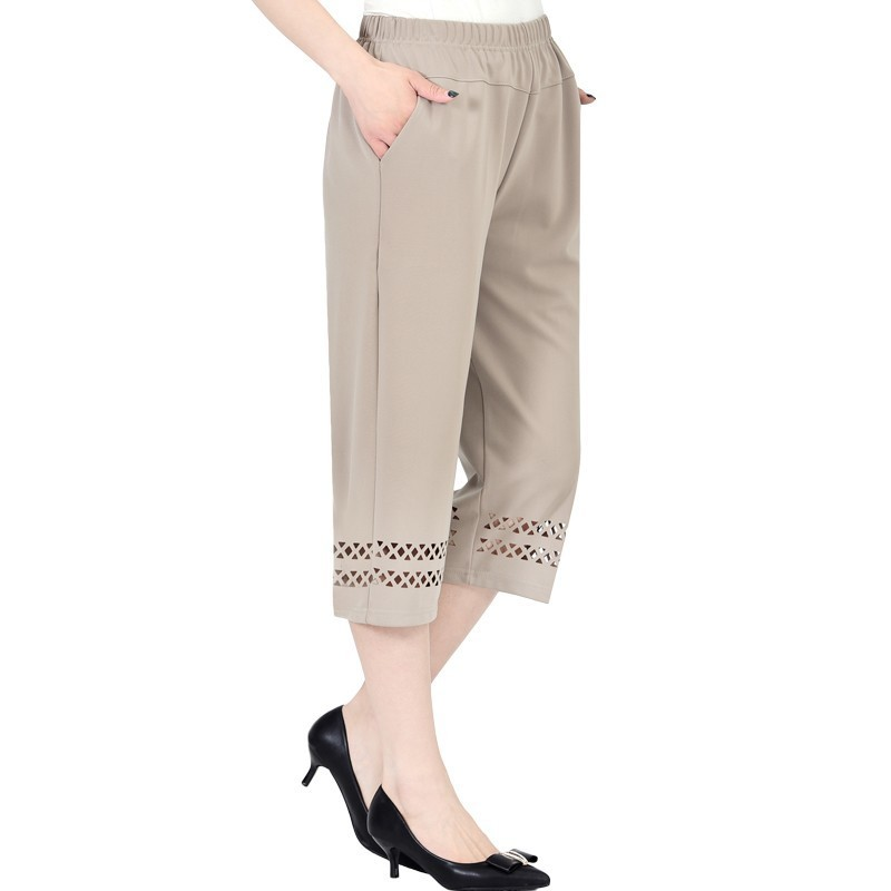 2019 Summer Middle Aged Women   Pants     Capris   Fashion Elastic Waist Casual Plus Size Ladies Straight   Pants   Female