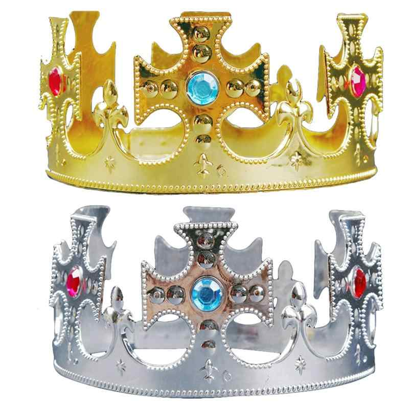 2Pcs Party Tiara Royal Princess Prince Queen King Crown Hats Birthday Decor for Children Adults Boys Girls Kids