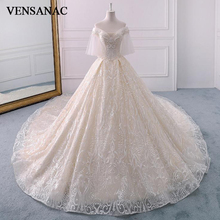 VENSANAC Pearls Deep V Neck Lace Appliques Ball Gown Wedding Dresses Luxury Chapel Train Backless Bridal Gowns