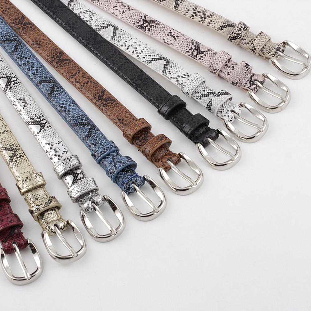 Vintage Women's Snakeskin Pattern Leather Thin   Belts   Adjuatable Gold Silver Metal Buckle Pin Waist   Belts   Dress Jeans Waistbands
