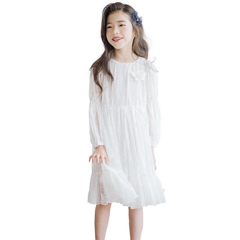 online store 80d62 7b0a8 Pizzo bianco a maniche lunghe abito vintage abiti del partito di età per  6-14 anni grandi ragazze elegante costume della principessa 2019 vestiti di  ...