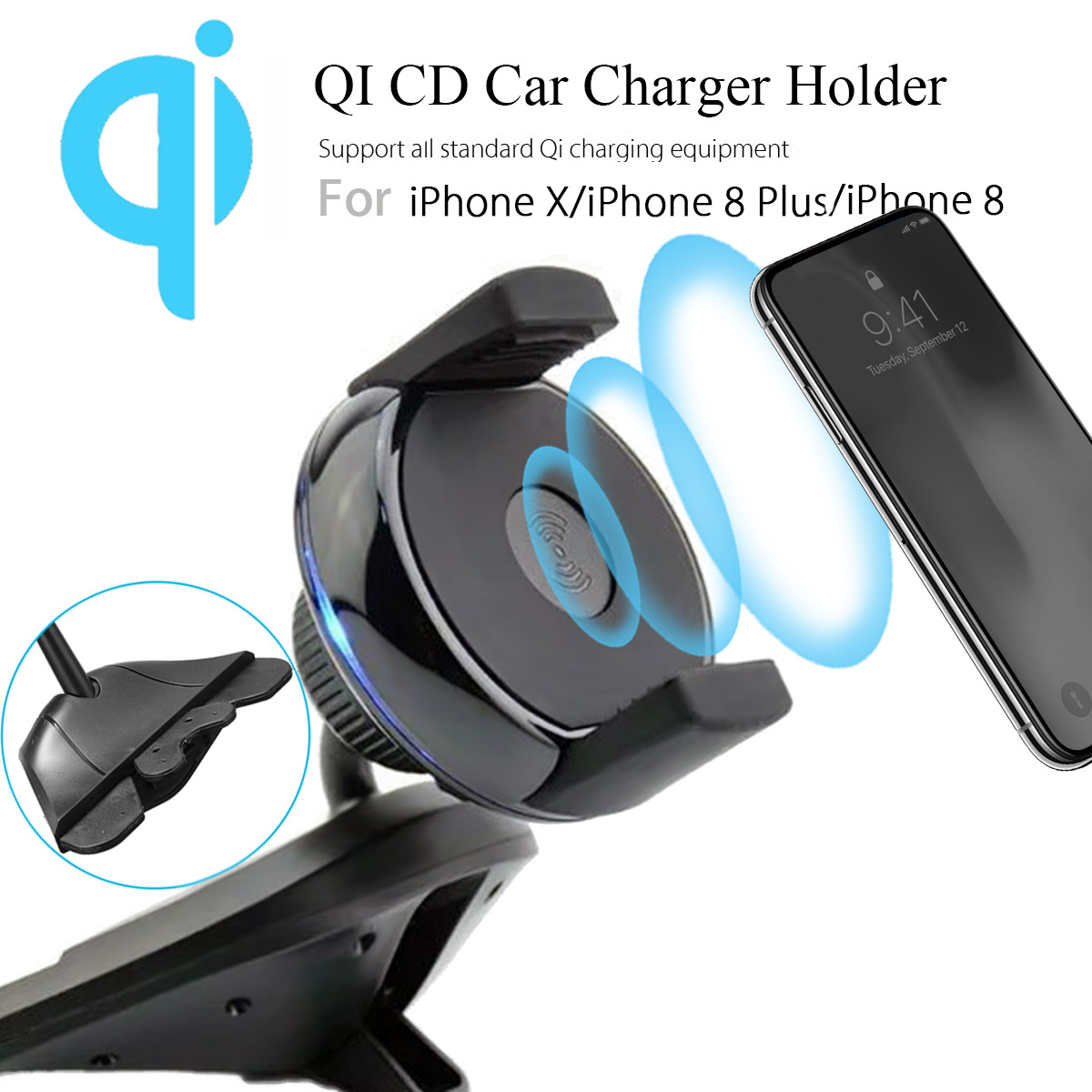 Car Phone Holder Qi Wireless Charger Mount For iPhone X 8