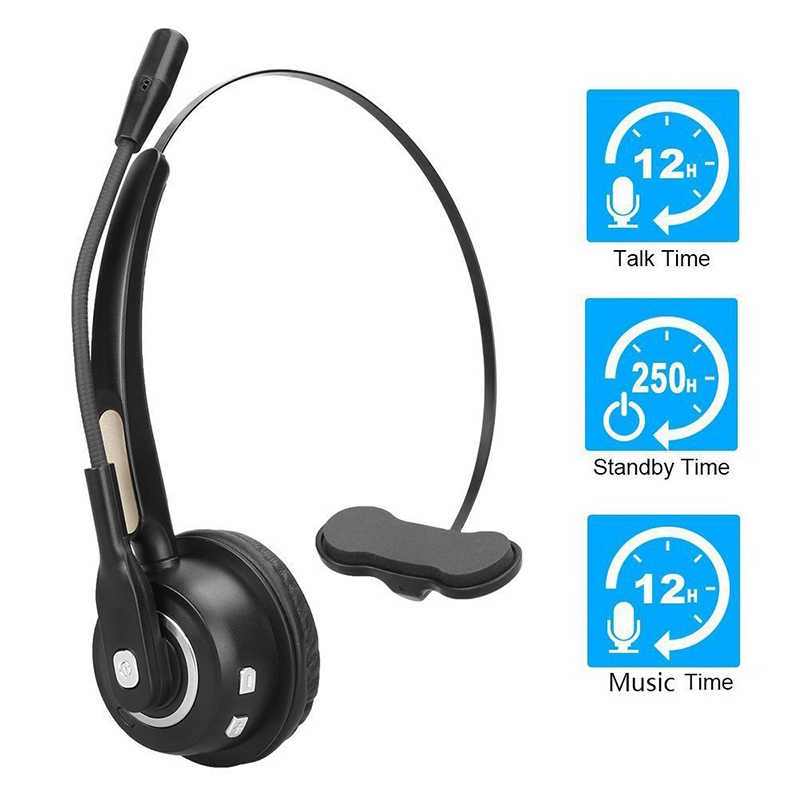 0d5c86ce923 BH520 Call Center Noise Cancelling mono Bluetooth Headset Over Head Boom Mic  business Headset For Trucker