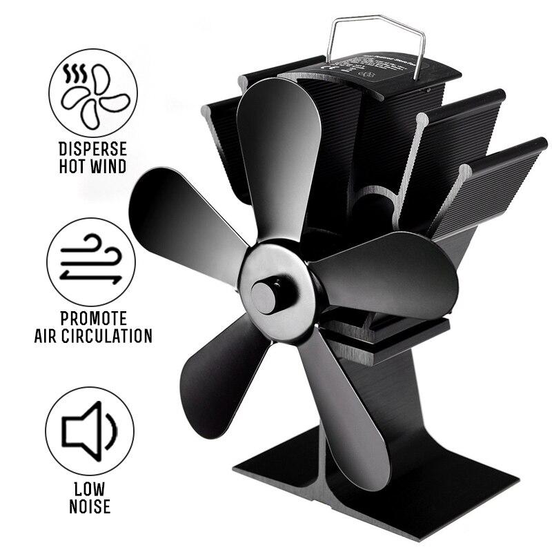 5 Blade Fireplace Heat Powered Stove Fan komin Log Wood Burner Eco Friendly Quiet Fan Home