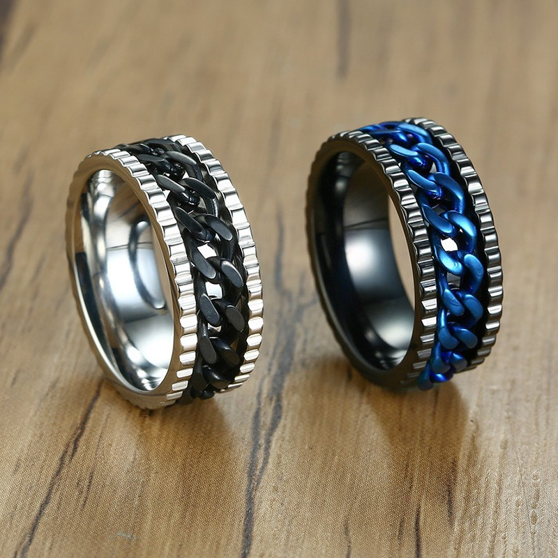 Jewelry & Accessories Shop For Cheap Stylish Spinner Rings For Men Jewelry With Blue And Black Cuban Chain Center Inlay Male Boy Relieve Anxiety Stress Anel Anillo