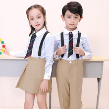 japanese fashion school girl skirt and shirts sets korea school girl uniform stiped shirts and beige pants sets for students(China)