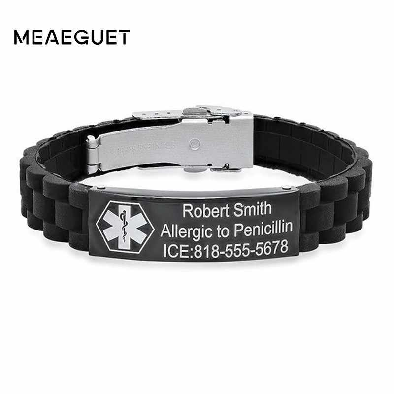 Personalized Black Rubber Medical Tag IDBracelet Stainless Steel Custom Diabetes DIY Adjustable Silicone Wrists Men Kids Chidren