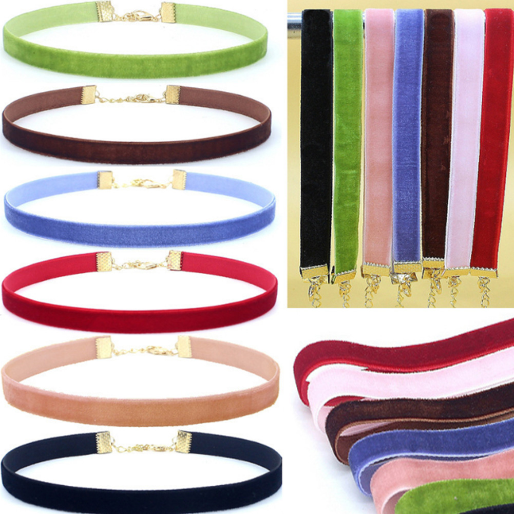 Fashion Velvet strip Choker Necklace Retro Gothic Collar Necklaces Women Gifts Elegant Candy Color Necklace Ladies Sexy Chain in Choker Necklaces from Jewelry Accessories