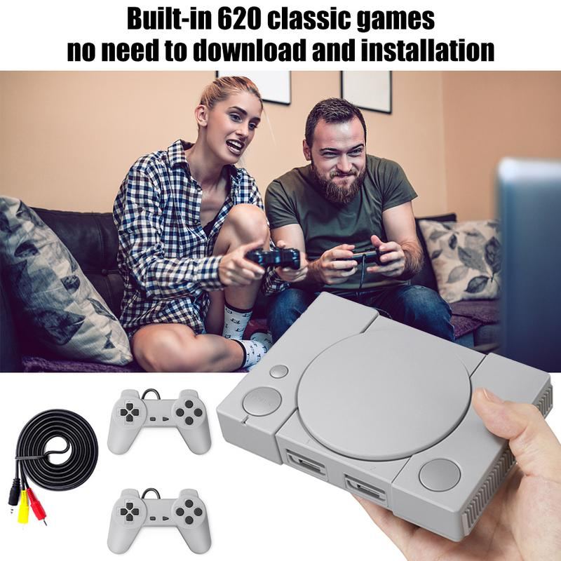Classic Game Console 8-bit for PS1 Mini Home 620 Action Game Enthusiast Entertainment System Retro Double Battle Game Console image