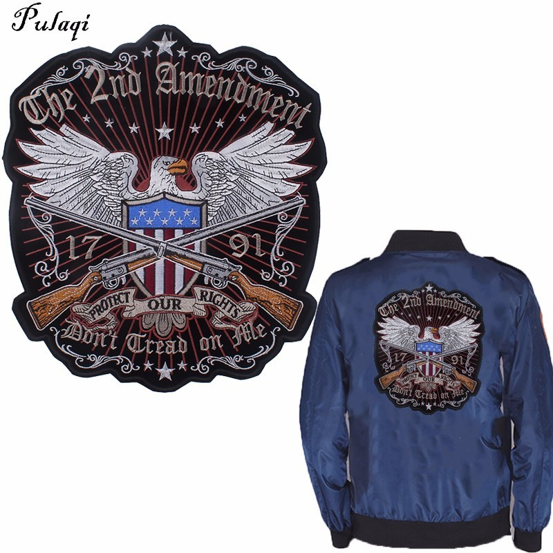 Pulaqi Protect Our Rights Patches for Clothing Iron On Eagle Appliques Big Biker Patch Sew Jackets Stickers Cool Parches H