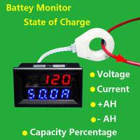 Hall coulomb meter Battery Monitor 5v-120V 0-400A Voltage Current Remaining Charging discharge Capacity 12v 24v 36v 48v car