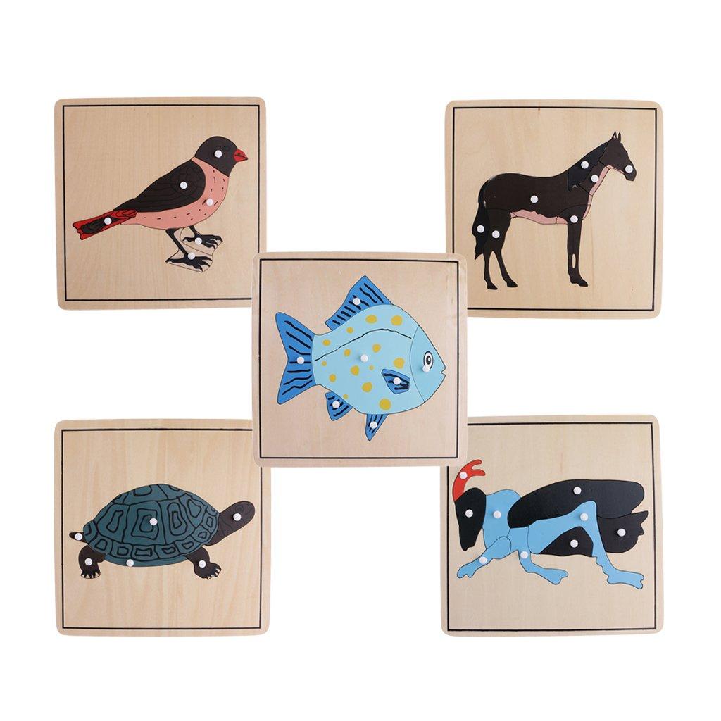 5 pièces Puzzle bois animaux jeu de Puzzle bébé apprentissage précoce jouet de développement anniversaire cadeau de noël pour les enfants