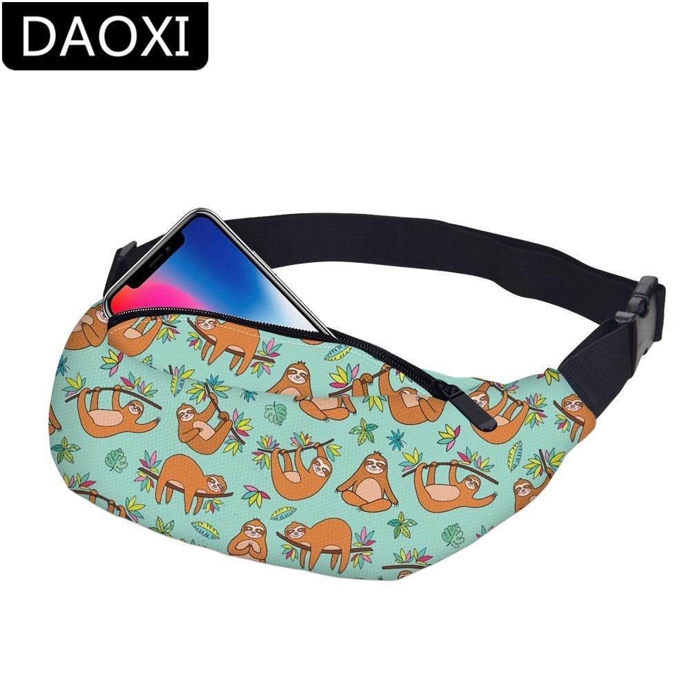 DAOXI Waterproof Sloth Women Fanny Pack Belt Bag Travel Waist Pack Men Hip Bum Bag With Adjustable Strap Dropshipping YB-43