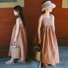 цены maxi long big girls dress summer 2018 new cotton sleeveless loose party dresses for girl baby school children dress clothing