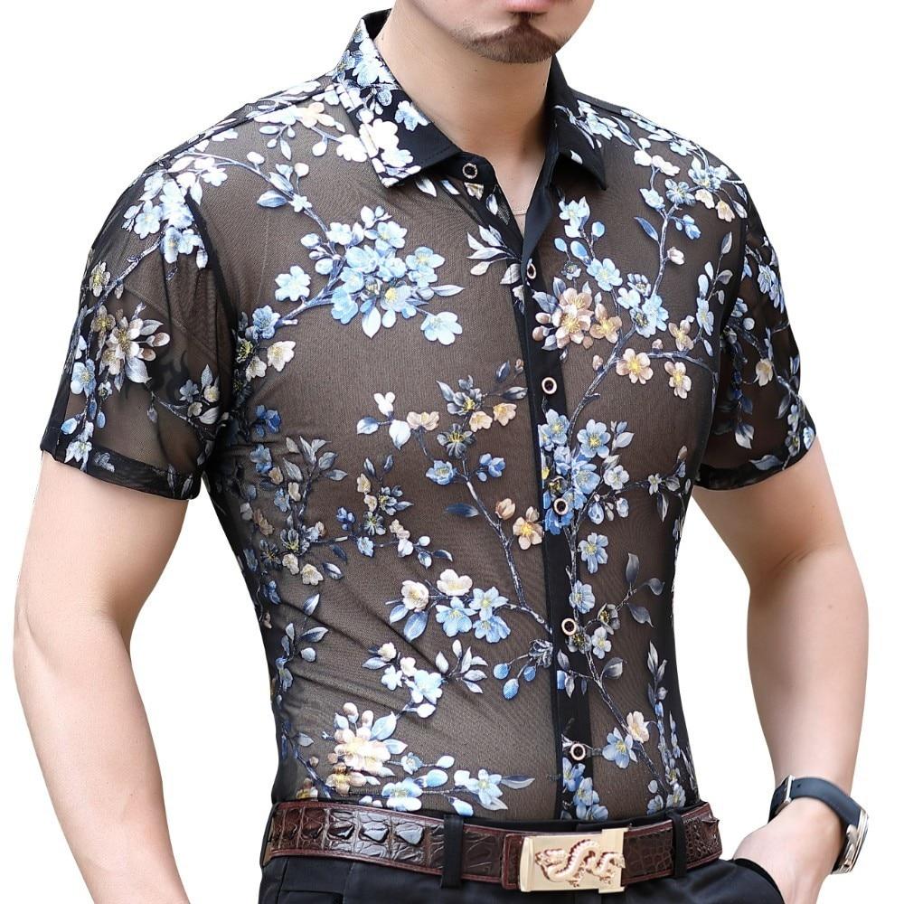 Рубашка с цветочным принтом Camicia Uomo гавайская рубашка социальной летняя модная уличная рубашка Прозрачный короткий рукав рубашка Camisa Hombre