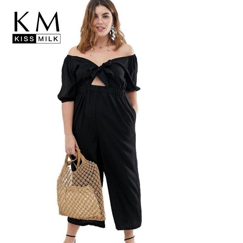 Kissmilk Plus Size Women Clothes Simple Sexy Word Shoulder Waist Hollow Khaki Large Black Jumpsuit