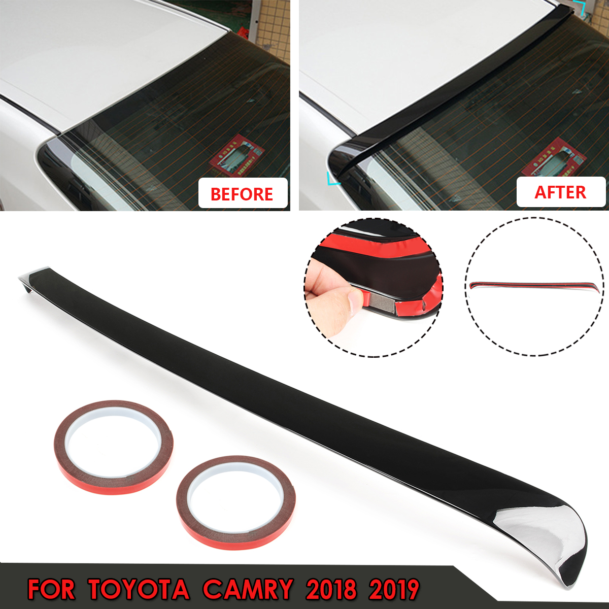 For Toyota Camry 2018 2019 Glossy Black ABS Plastic for JDM Sport Rear Window Roof Wing Spoiler w/ 3 meters glueFor Toyota Camry 2018 2019 Glossy Black ABS Plastic for JDM Sport Rear Window Roof Wing Spoiler w/ 3 meters glue