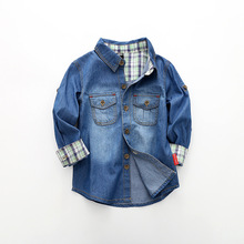 2019  New childrens cotton long-sleeved washed denim shirt. Boy tops