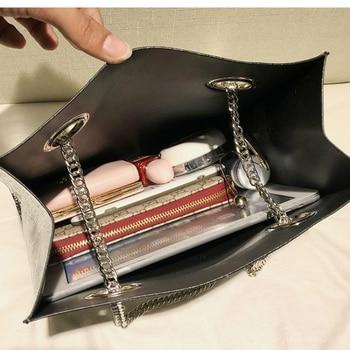 Big Tote Female Bag Burst Crack Chain Shoulder Messenger Bag PU Leather Rivet Large Capacity Mobile Ladies Bags for Women 2020 3
