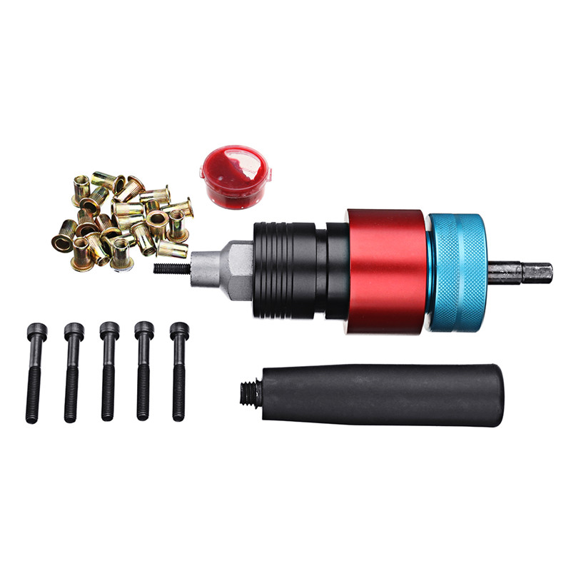 New LT8 Electric Riveter Nut Riveting Tools Kit Clutch Type Automatic Stop Cordless Riveting Adapter M5 For Electric Drill