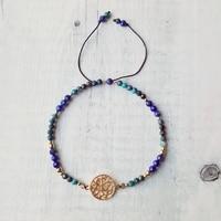 Lii Ji Lapis Lazuli Chrysocolla S925 Charm Bracelet Natural Stone Adjustable Bracelet Handmade Delicate Jewelry For Friends