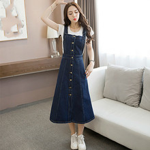 New Fashion Denim Dress Spring Summer Casual Single Breasted Denim Sundress Overalls Loose Spaghetti Strap Jeans Dresses велосипед stinger discovery 26 2018