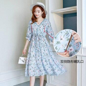 Maternity Dress New Summer Chiffon Pregnant Woman Clothing Fashion Printing Breastfeeding Dresses