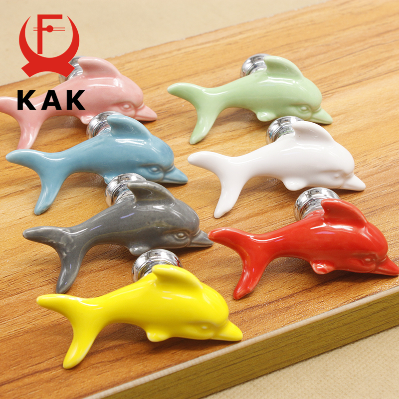 KAK Ceramic Dolphin Drawer Knobs 3D Cartoon Cabinet Cupboard Handles Fashion Kids Cabinet Knobs Room Furniture Handle Hardware