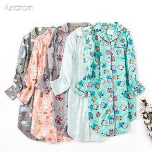 Loose pijama For Women Cotton Homewear Cartoon Printed Sleepshirts Long Sleeves Turn-down Collar