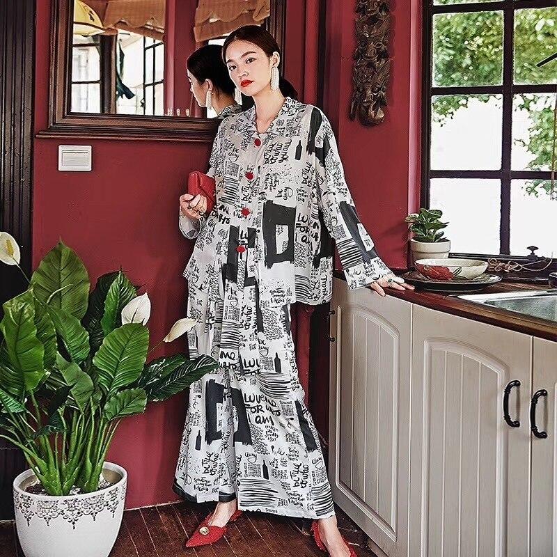 Runway Fashion Women s Silk Pajamas New Paper Pant Set Nightwear Loungewear Wide Leg Pant Twinset